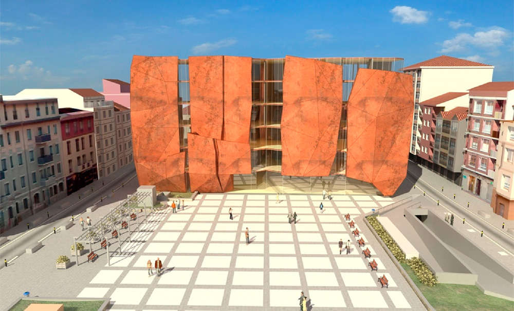 Alzado a la plaza de la Romo Kultur Etxea